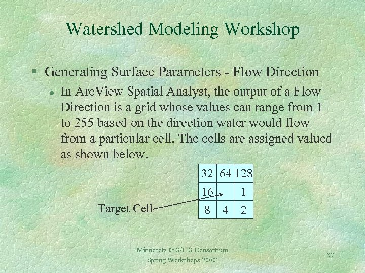 Watershed Modeling Workshop § Generating Surface Parameters - Flow Direction l In Arc. View