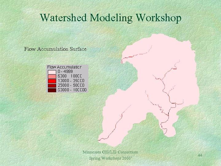 Watershed Modeling Workshop Flow Accumulation Surface Minnesota GIS/LIS Consortium Spring Workshops 2000' 44