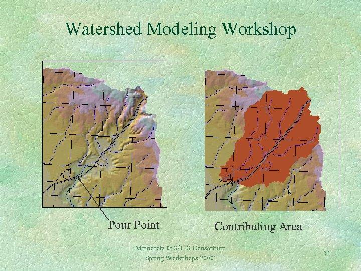 Watershed Modeling Workshop Pour Point Contributing Area Minnesota GIS/LIS Consortium Spring Workshops 2000' 54