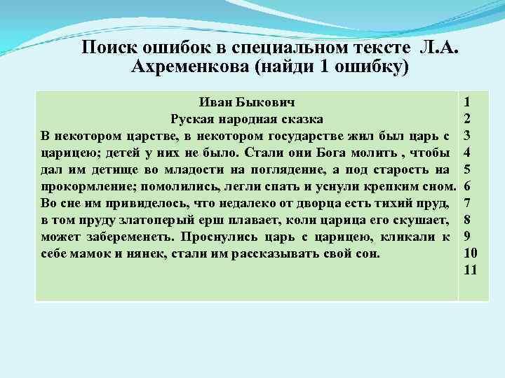 Поиск ошибок в специальном тексте Л. А. Ахременкова (найди 1 ошибку) Иван Быкович Руская