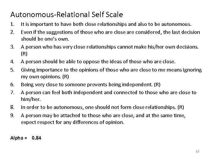 Autonomous-Relational Self Scale 1. 2. 3. 4. 5. 6. 7. 8. 9. It is