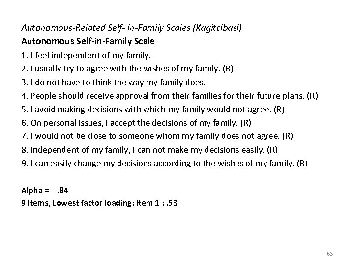 Autonomous-Related Self- in-Family Scales (Kagitcibasi) Autonomous Self-in-Family Scale 1. I feel independent of my