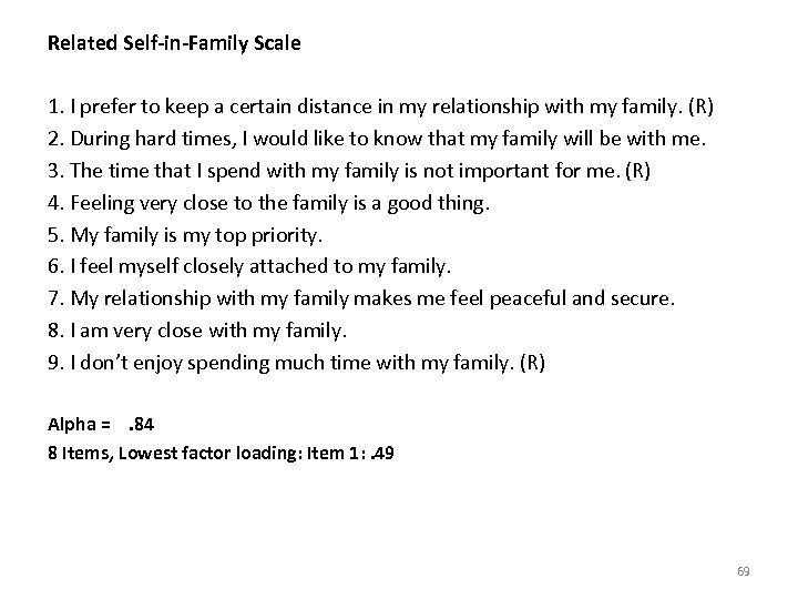 Related Self-in-Family Scale 1. I prefer to keep a certain distance in my relationship