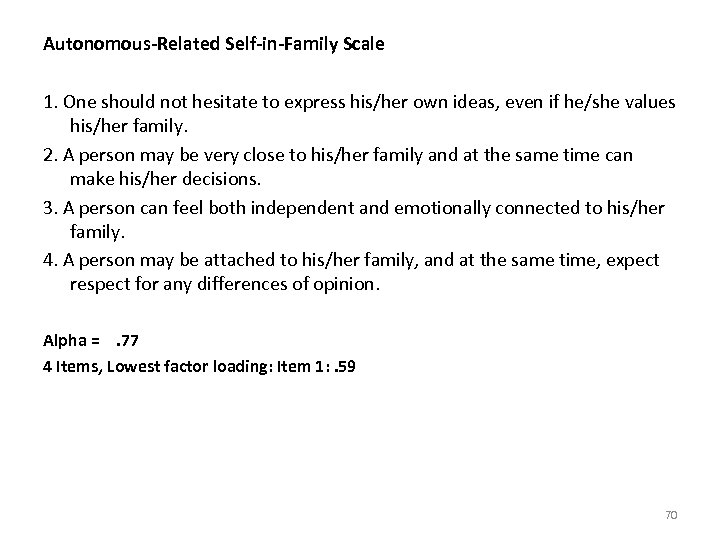 Autonomous-Related Self-in-Family Scale 1. One should not hesitate to express his/her own ideas, even