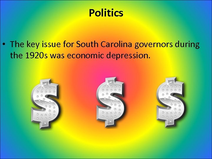 Politics • The key issue for South Carolina governors during the 1920 s was
