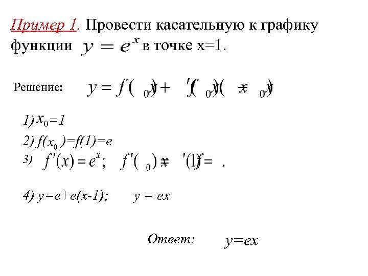 Пример 1. Провести касательную к графику функции в точке x=1. Решение: 1) =1 2)
