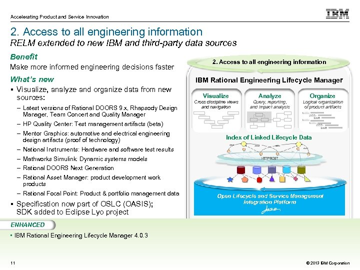 Accelerating Product and Service Innovation 2. Access to all engineering information RELM extended to