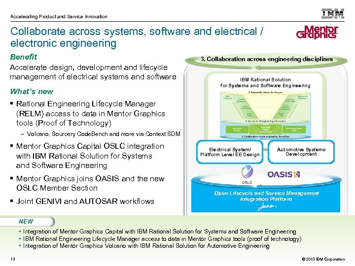 Accelerating Product and Service Innovation Collaborate across systems, software and electrical / electronic engineering