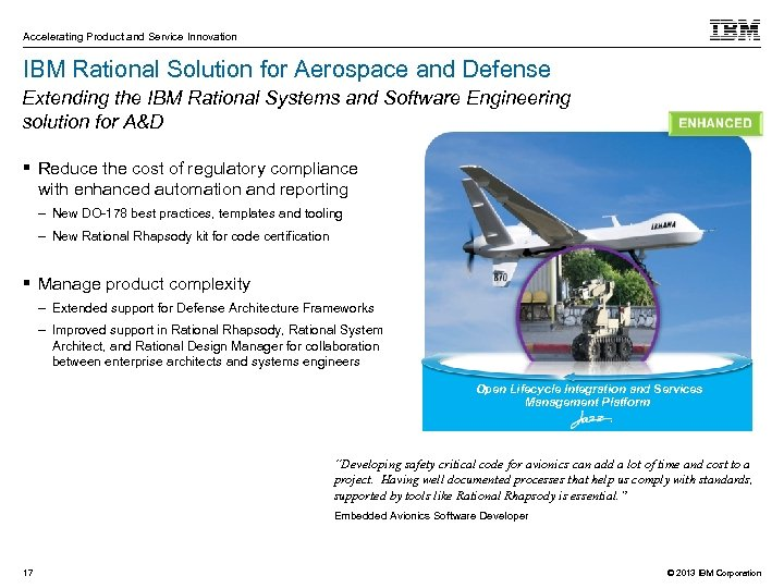 Accelerating Product and Service Innovation IBM Rational Solution for Aerospace and Defense Extending the