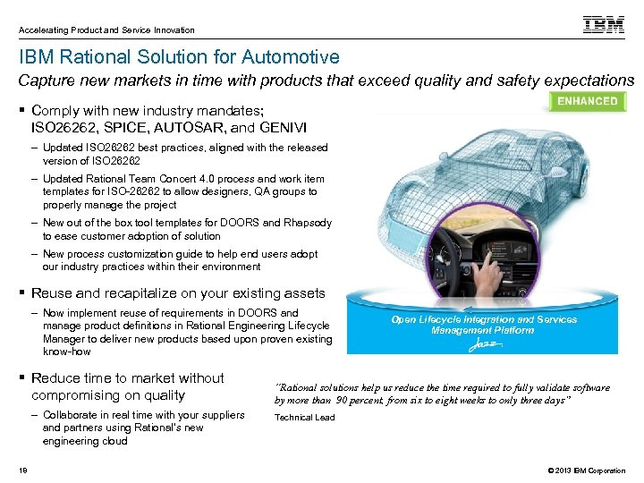 Accelerating Product and Service Innovation IBM Rational Solution for Automotive Capture new markets in