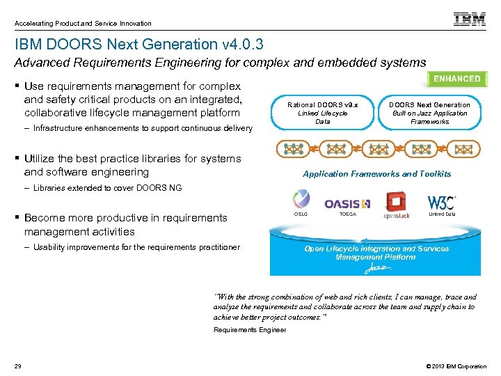 Accelerating Product and Service Innovation IBM DOORS Next Generation v 4. 0. 3 Advanced