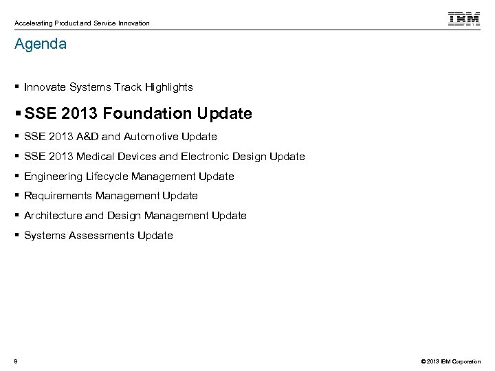 Accelerating Product and Service Innovation Agenda Innovate Systems Track Highlights SSE 2013 Foundation Update