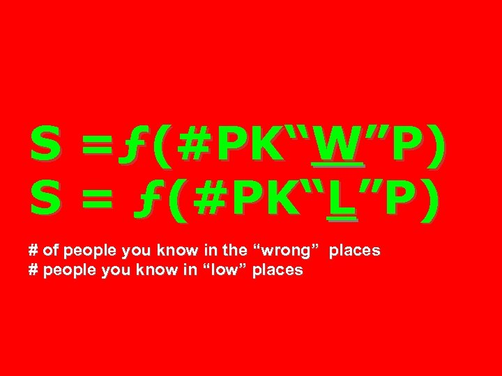 "S =ƒ(#PK""W""P) S = ƒ(#PK""L""P) # of people you know in the ""wrong"" places"