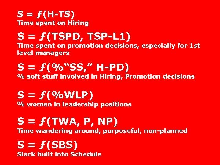 S = ƒ(H-TS) Time spent on Hiring S = ƒ(TSPD, TSP-L 1) Time spent