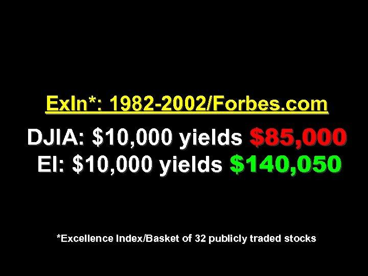Ex. In*: 1982 -2002/Forbes. com DJIA: $10, 000 yields $85, 000 EI: $10, 000