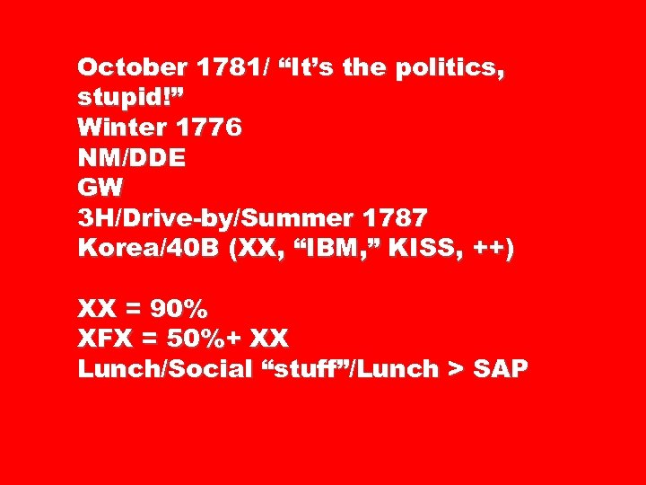 "October 1781/ ""It's the politics, stupid!"" Winter 1776 NM/DDE GW 3 H/Drive-by/Summer 1787 Korea/40"