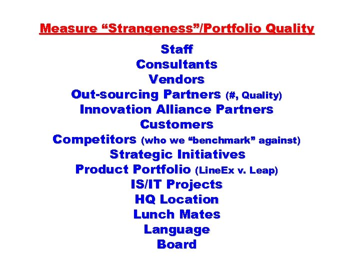 "Measure ""Strangeness""/Portfolio Quality Staff Consultants Vendors Out-sourcing Partners (#, Quality) Innovation Alliance Partners Customers"