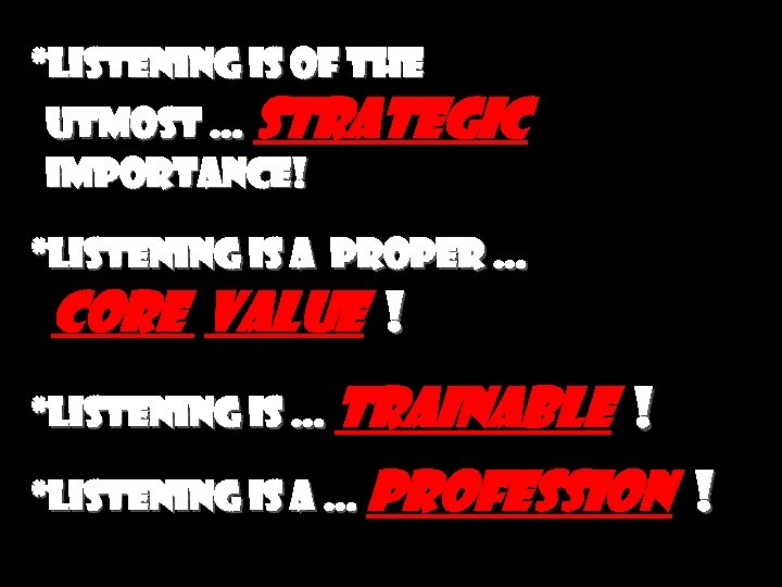 *Listening is of the utmost … strategic importance! *Listening is a proper … core