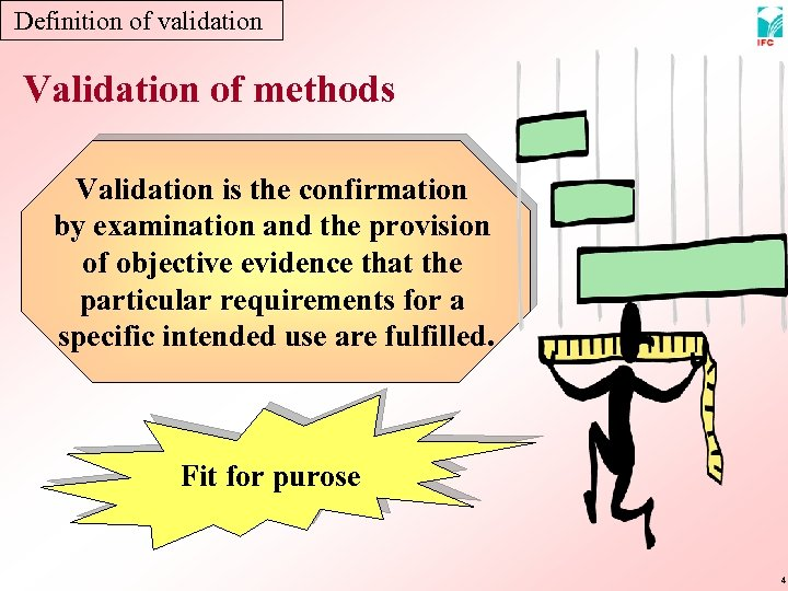 Definition of validation Validation of methods Validation is the confirmation by examination and the
