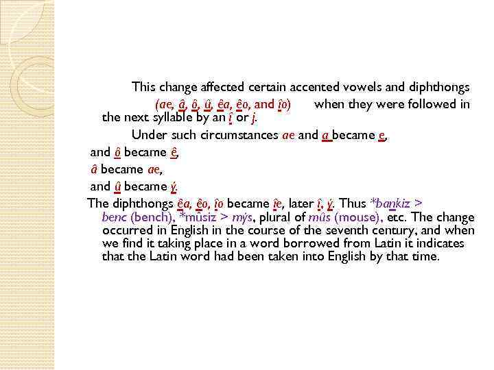 This change affected certain accented vowels and diphthongs (ae, â, ô, û, êa, êo,