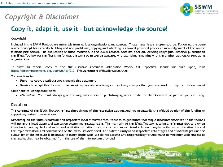 Find this presentation and more on: www. sswm. info. Copyright & Disclaimer Copy it,