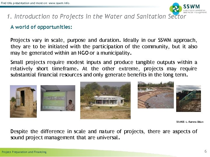 Find this presentation and more on: www. sswm. info. 1. Introduction to Projects in