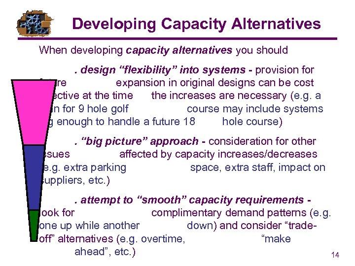 """Developing Capacity Alternatives When developing capacity alternatives you should. design """"flexibility"""" into systems -"""