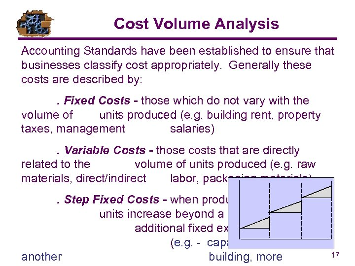 Cost Volume Analysis Accounting Standards have been established to ensure that businesses classify cost