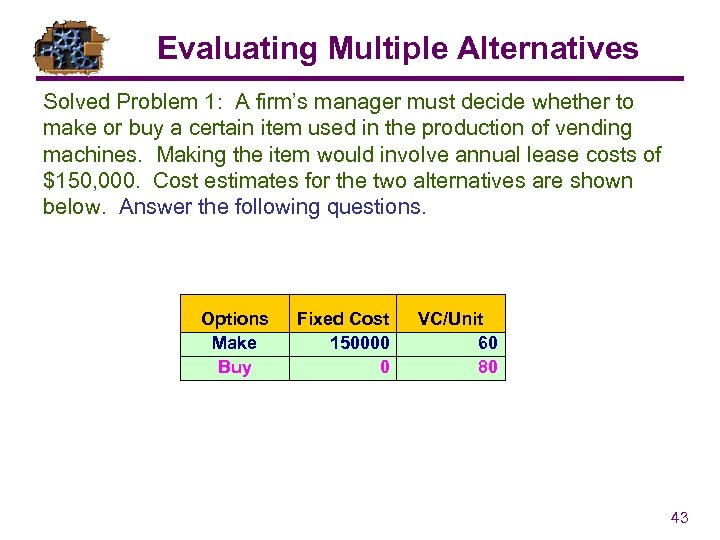 Evaluating Multiple Alternatives Solved Problem 1: A firm's manager must decide whether to make