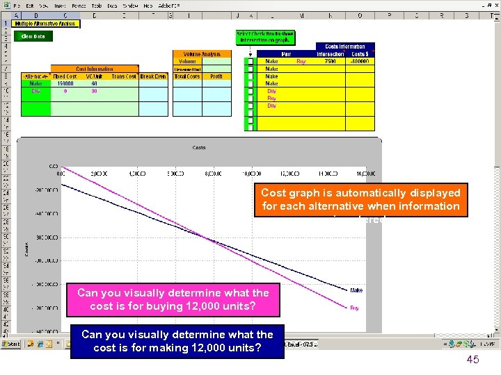 Cost graph is automatically displayed for each alternative when information is entered. Can you
