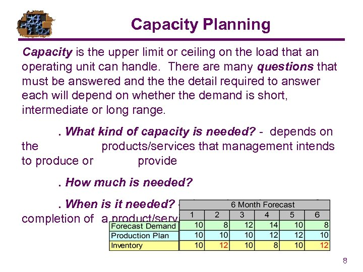 Capacity Planning Capacity is the upper limit or ceiling on the load that an
