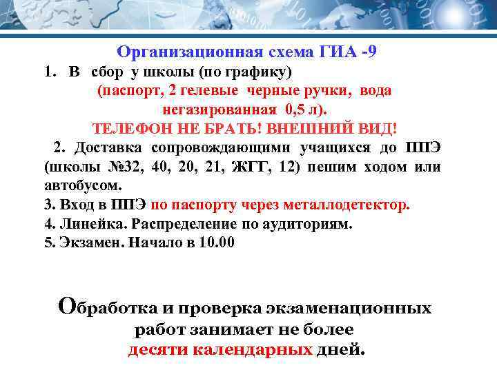 Организационная схема ГИА -9 1. В сбор у школы (по графику) (паспорт, 2 гелевые