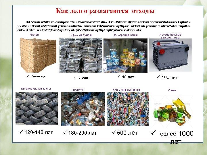 Как долго разлагаются отходы На земле лежат миллиарды тонн бытовых отходов. И с каждым
