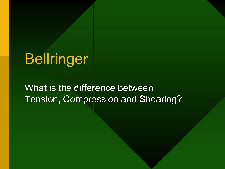 Bellringer What is the difference between Tension, Compression and Shearing?