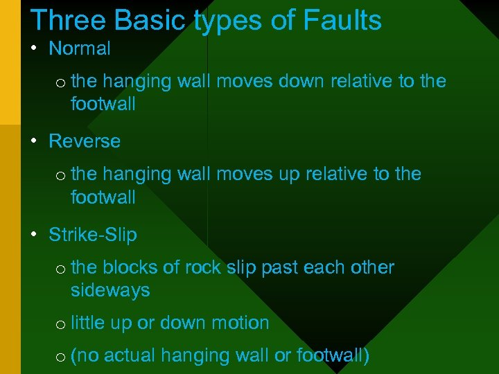 Three Basic types of Faults • Normal o the hanging wall moves down relative