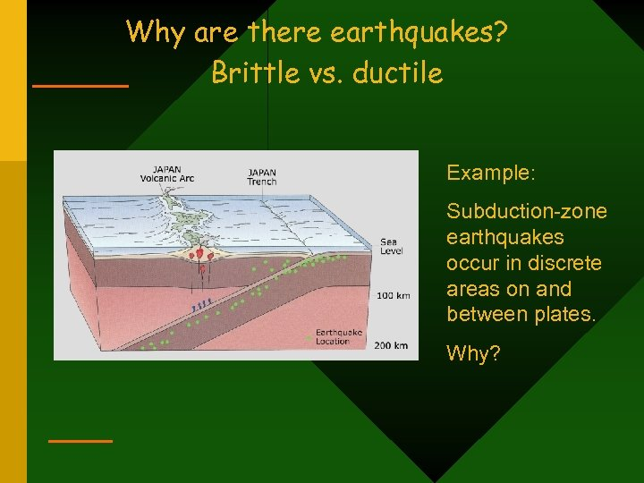 Why are there earthquakes? Brittle vs. ductile Example: Subduction-zone earthquakes occur in discrete areas