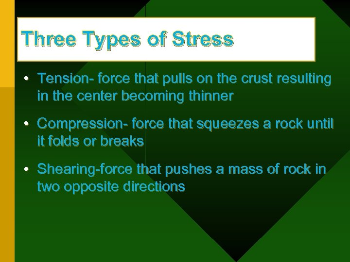 Three Types of Stress • Tension- force that pulls on the crust resulting in