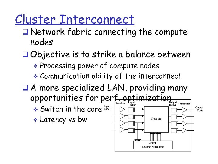 Cluster Interconnect q Network fabric connecting the compute nodes q Objective is to strike