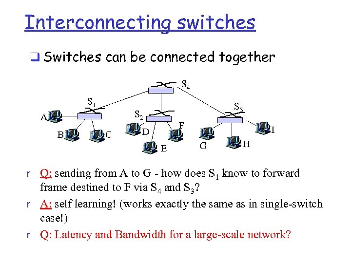 Interconnecting switches q Switches can be connected together S 4 S 1 S 2