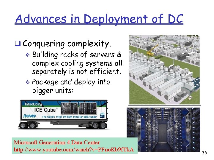 Advances in Deployment of DC q Conquering complexity. v Building racks of servers &
