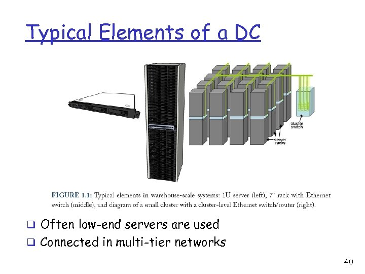 Typical Elements of a DC q Often low-end servers are used q Connected in