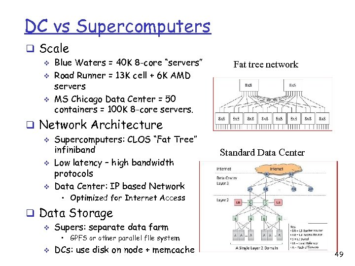 DC vs Supercomputers q Scale v v v Blue Waters = 40 K 8
