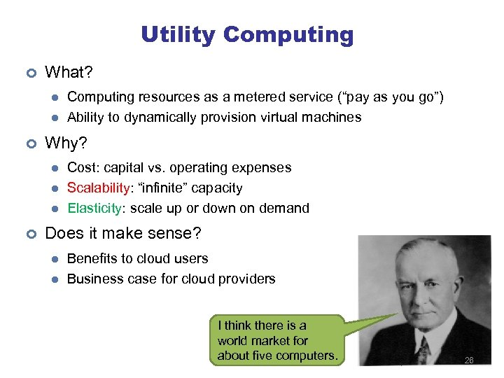 Utility Computing ¢ What? l l ¢ Why? l l l ¢ Computing resources
