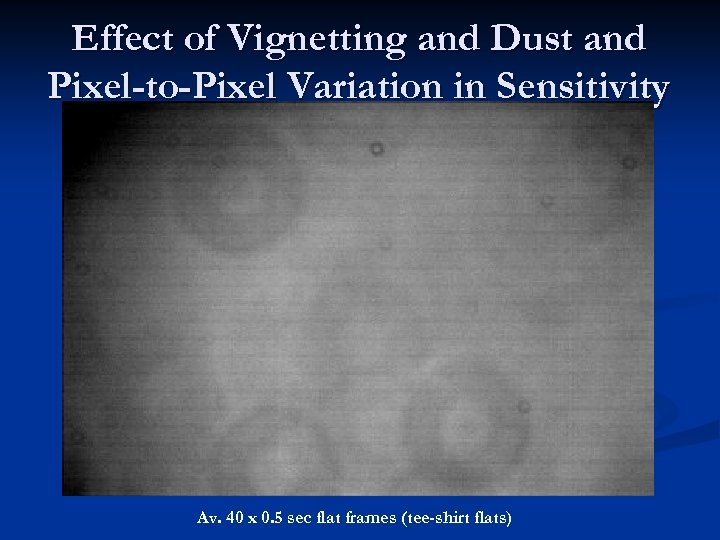 Effect of Vignetting and Dust and Pixel-to-Pixel Variation in Sensitivity Av. 40 x 0.
