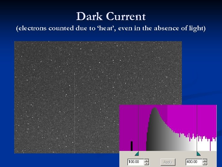 Dark Current (electrons counted due to 'heat', even in the absence of light)