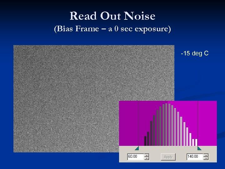 Read Out Noise (Bias Frame – a 0 sec exposure) -15 deg C