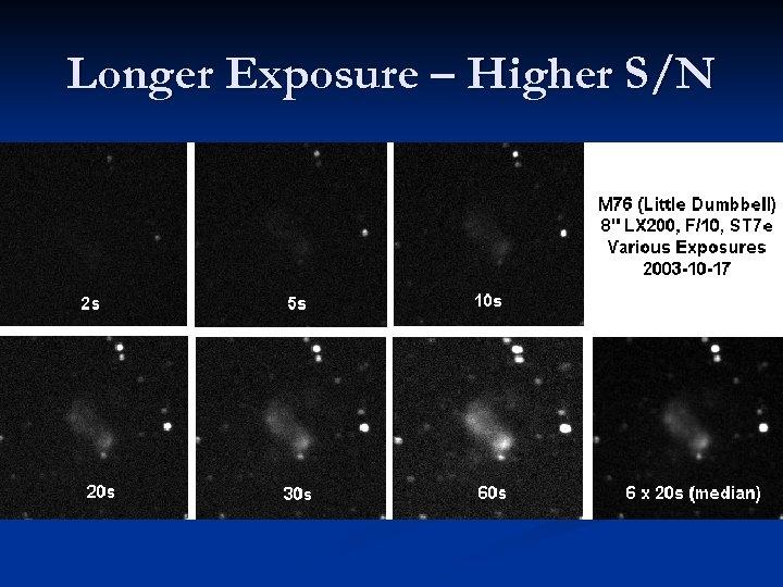 Longer Exposure – Higher S/N