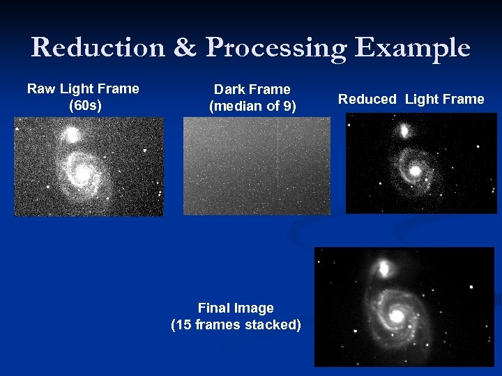 Reduction & Processing Example Raw Light Frame (60 s) Dark Frame (median of 9)