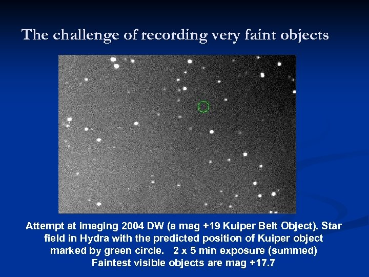 The challenge of recording very faint objects Attempt at imaging 2004 DW (a mag