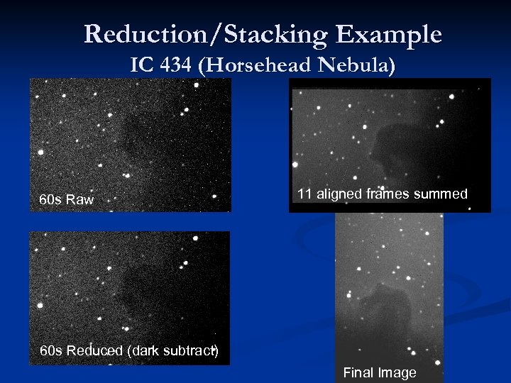 Reduction/Stacking Example IC 434 (Horsehead Nebula) 60 s Raw 11 aligned frames summed 60